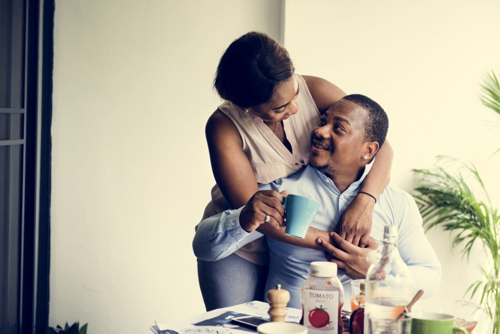 Black spouse having precious time together